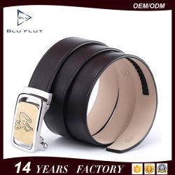 Nombre de empresa personalizado de cuero auténtico de la etiqueta de los hombres cinturones hebilla