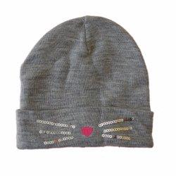 Les enfants d'hiver de tricot chaud Fashion Brassard Hat Casquette avec broderie Cat Sequin