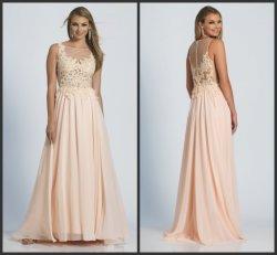 Coral мантии выпускного вечера шнуруют a - линию платье вечера M128 Bridesmaid