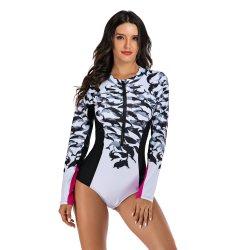 Het lange Kostuum van het Badpak van het Zwempak van Swimwear van de Vrouwen van de Koker Ééndelige Vrouwelijke Zwemmende voor Slijtage van de Branding van de Wacht van de Strandkleding van Miao van Vrouwen de Spoed
