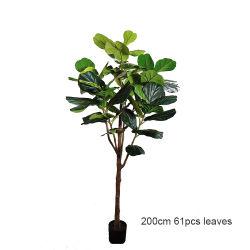 200cm de hoja de violín de Plástico Imitación Higuera Maceta con la decoración del hogar verde artificiales Ficus lyrata árbol planta
