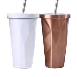 二重壁はわらのダイヤモンドの表面のコップが付いているステンレス鋼のわらのコップの双生児の壁の金属ジュースのコップを絶縁する