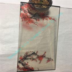 문을%s 중국 실크 스크린에 의하여 인쇄되는 빨간 자두 훈장 유리