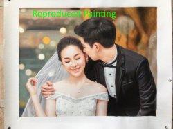 Gire a la Foto de boda hechas a mano de pintura al óleo sobre tela