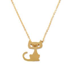 Animal de moda joyas Colgante Collar de acero inoxidable cat.