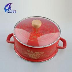2pcs festiva esmalte rojo esmalte olla con tapa de cristal