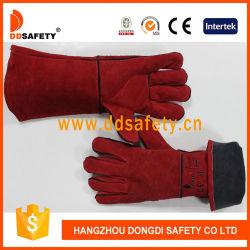 La Chine de gros de vache de la sécurité Gant en cuir rouge de fractionnement de soudage