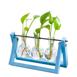 Hot-Selling estrutura de madeira coloridos vaso de plantas de flores de vidro