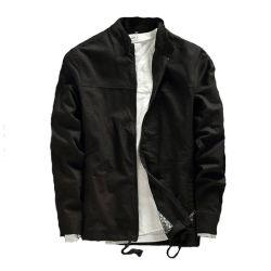 La moda Vintage Mens Stand de ropa de algodón de cuello de chaqueta con cremallera