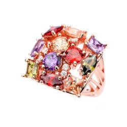 立方ジルコンの金張りのリングの方法宝石類の多彩な石造りのリング
