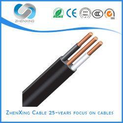 Cable de PVC eléctrico plana, construcción de doble alambre y cable de tierra de conectar los cables