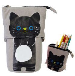 変圧器の立場の記憶装置の鉛筆のホールダーCanvas+PUの漫画のかわいい猫のジッパーの閉鎖が付いている望遠鏡の鉛筆の袋袋の文房具のペンの箱ボックス