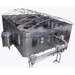 Llenado automático de la botella de cristal líquido de bebidas la bebida de tratamiento de agua mineral pura purificador de filtro de llenar el embotellado de embalaje la máquina de sellado