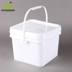 1, 2, 2.5, 5 جالون [فوود غرد] مربّع بيضاء بلاستيكيّة دلو سطح وعاء صندوق مع غطاء