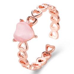 Regali aperti della ragazza dei monili del partito di modo dell'anello dell'anello delle donne eleganti di cerimonia nuziale dell'oro Heart-Shaped di pietra naturale femminile Charming della Rosa