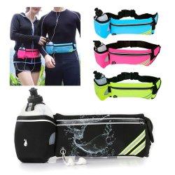 As mulheres Mens Sports à prova de funcionamento Fanny Pack Bum Bag Pocket Phone Bolsa Cinto de Cintura com garrafa de água