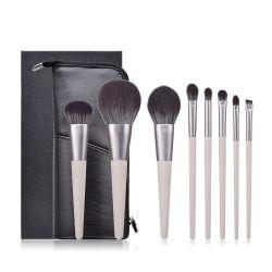 8 ПК оптовая торговля серой деревянной ручкой макияж набор щеток с PU дорожная сумка подарочная упаковка косметический Brochas де Maquillaje