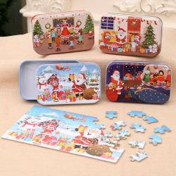 Dom bricolage Natal 60 peças artesanais infantis Santa Claus Puzzle brinquedos de madeira