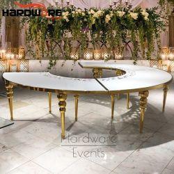 Hall Hotel LED de acero inoxidable con MDF Ronda mitad superior de la Mesa de boda