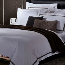 Hotel roupa de cama de algodão branco Sateen Lençol