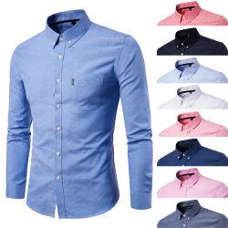 Wholesale uniforme formal Camisa Oxford de algodón personalizadas moda vestir botón hacia arriba el personal de los Hombres camiseta impresa