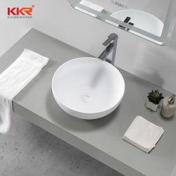 Cuve simple de surface solide lavabos de salle de bains au-dessus du bassin du comptoir Fraise de comptoir ronde blanche mate
