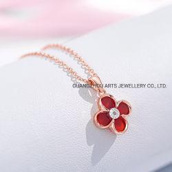 方法宝石類 4 は自然なダイヤモンドのネックレスとクローバー Agate を残す 925 Sterling 銀製の宝石類