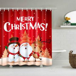 熱い販売のクリスマスの印刷防水ポリエステルシャワー・カーテンはカスタマイズすることができる