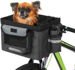 접히는 자전거 바구니 애완 동물 고양이 개 운반대 정면 이동할 수 있는 자전거 자전거 핸들 바구니 분리가능한 순환 부대