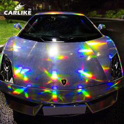 Carlike 1,52 x18m Matt Silver couleur laser brillant teinté Chrome Rainbow feuille de film pour la voiture en vinyle d'enrubannage