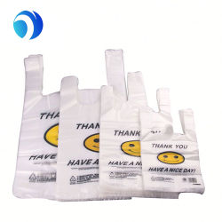 Personalizar la impresión de plástico de HDPE LDPE PLA Pbat Cara Sonriente Gracias supermercado Biodegradable Compostable Environment-Friendly Shopping Mall tienda T-Shirt Bags