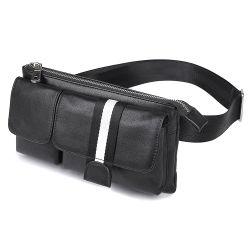 良質の黒の本革の人のウエスト袋の人のための実質の革ウエストバッグをカスタム設計しなさい
