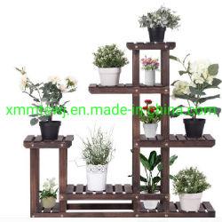 Planta de madeira ao ar livre suporte de monitor de Flores, Rack de armazenagem em prateleiras de madeira
