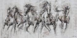 Aucune peinture d'huile de groupe encadrée avec texture lourde à cheval