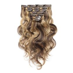 """14""""-20"""" Clip dans la meilleure qualité d'Extensions de cheveux Virgin Remy Cheveux humains multi couleurs Piano n° 4/10/27 Body-Wave 7PCS Ratio bon sèche cheveux épais fin de gros en usine"""