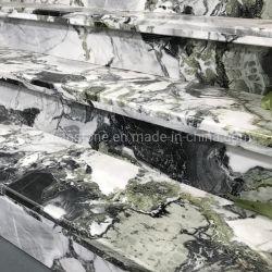 광택 중국 천연 아이스 그린 대리석 돌 계단 읽기 계단