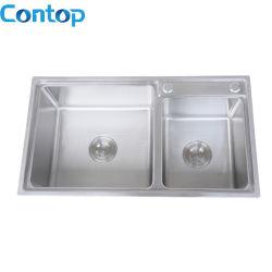 Topmout Double Bowl Évier de cuisine en acier inoxydable à petit rayon