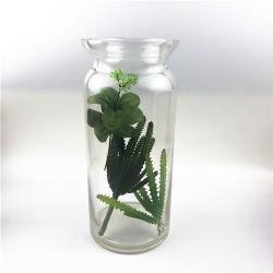 De color transparente de vidrio artesanales de artesanía de vidrio de corte frío Handblown florero de vidrio