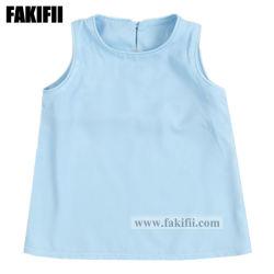 ODM Aangepaste Overhemd van de Manier van de Kinderen van de Blouse van het Meisje van de Kleren van de Jonge geitjes van de Slijtage van de Baby/van de Zuigeling Blauwe