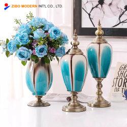 3PC Definir Cor Cerâmica Decoração Flower vaso de porcelana