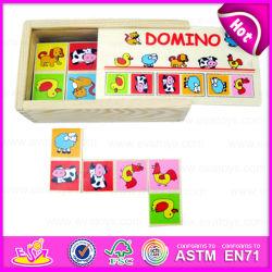 2015 crianças educativos de madeira Domino Puzzle Toy, Crianças Domino de madeira Play, Animal dominó jogo de puzzles inteligentes W15A005