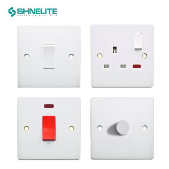 British Standard New Slim Plate Bakelite 13A Wall Socket Electrical Switch Socket
