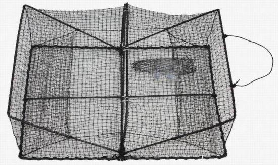 Fishing Folding Rectangular Crab Trap with Black Mesh