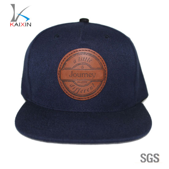 China Custom Leather Patch 5 Panel Snapback Hats - China Snapback ... d4119c4fb10