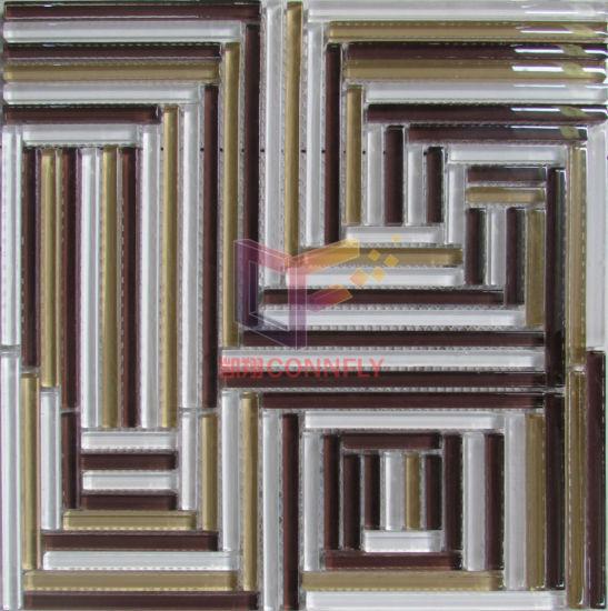 Puzzle Like Pattern Glass Mosaic Tile (CFC555)