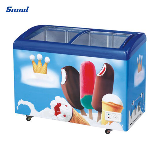 268L Commercial Glass Door Ice Cream Display Showcase Chest Freezer