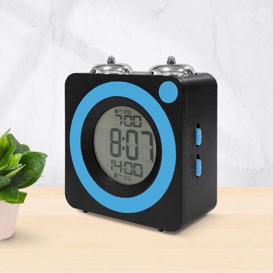 Loud Ring Sound Two Bell Alarms Square Digital Big Display Desk/Table Clock with Snooze Function Momery and Back Light for Old People