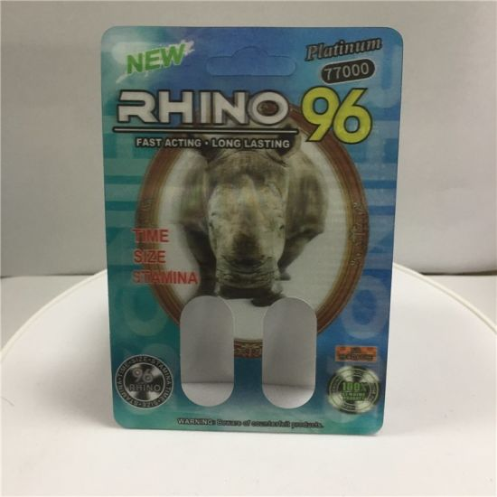 3D R96 77000 (double holes) Cards for Rhino Pills Packing