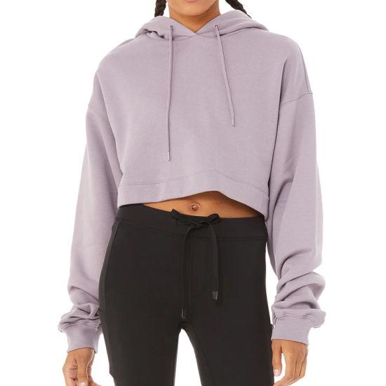 Custom Polyester Fabric Women Crop Sportswear Hoodies