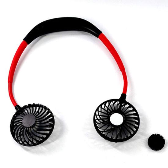 Handsfree Mini USB Neck Fan Neck Fan Cooling Portable Personal Fan Necklance Fan with Dual Wind Head 3 Speeds Led Light Pink